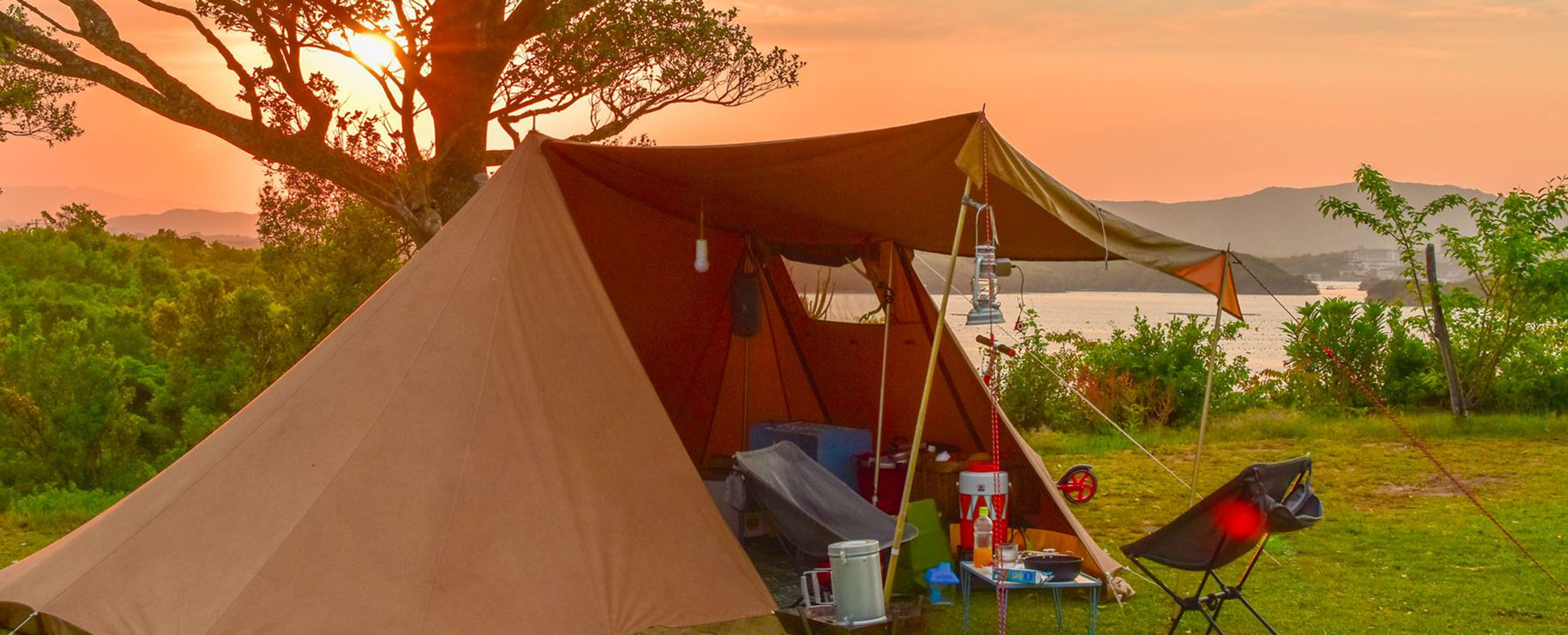 ソロキャンプの夕焼け